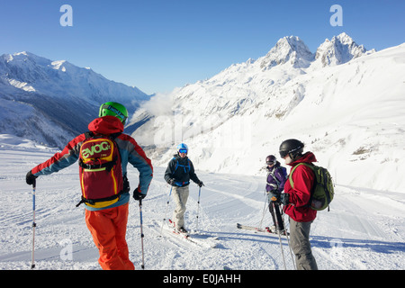 Ski guide with ABS avalanche rucksack for safety on ski slopes at Le Tour in Chamonix-Mont-Blanc Haute Savoie France Europe - Stock Image