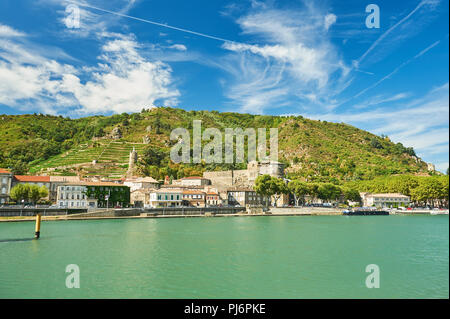 River Rhone and the town of Tournon sur Rhone in the Ardeche department of Rhone Alps, France - Stock Image