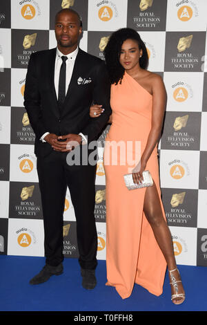 LONDON, UK. March 19, 2019: Osi Umenyiora arriving for the Royal Television Society Awards 2019 at the Grosvenor House Hotel, London. Picture: Steve Vas/Featureflash Credit: Paul Smith/Alamy Live News - Stock Image