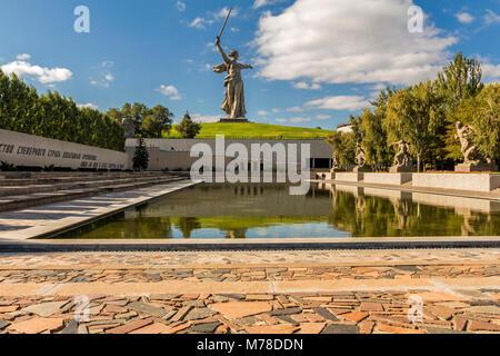 Russia, Volgograd - October3, 2017: Sunset. Sculpture Motherland Calls! - compositional center of monument-ensemble - Stock Image
