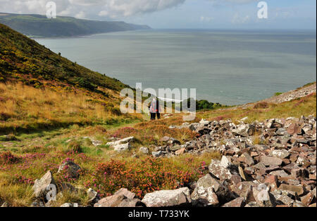 Walkers descending the rock strewn valley from Bossington Hill towards Porlock bay on the South West coast path from Minehead to Porlock Wier with a v - Stock Image