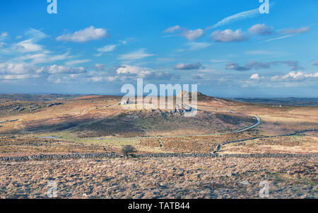 View to Haytor and Saddle Tor from Rippon Tor in Dartmoor National Park, Devon - Stock Image
