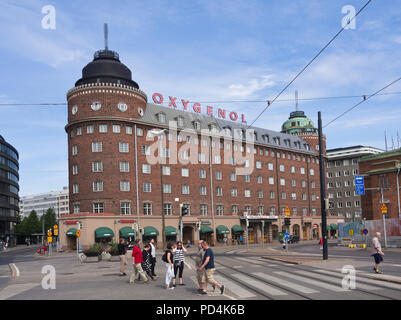 Massive red brick building at Hakaniemi market square in the centre of Helsinki Finland - Stock Image