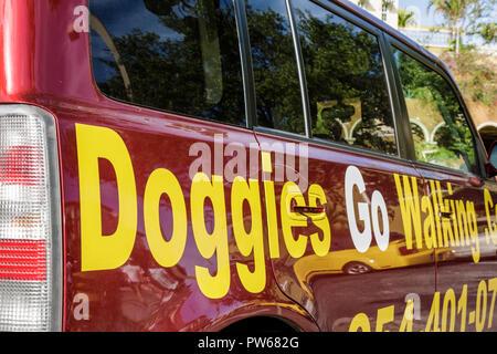 Fort Lauderdale Ft. Florida Las Olas Boulevard van Doggies Go Walking dog walker business advertising commercial vehicle sign pr - Stock Image