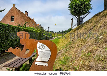 Metal sculpture at entrance to Vesting Bourtange, the star-shaped fortress in Groningen Province, The Netherlands - Stock Image