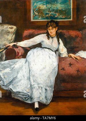 Portrait of Berthe Morisot (1841-1895) by Édouard Manet, c. 1870 - Stock Image