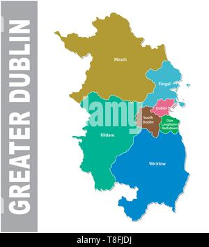 Greater Dublin Area administrative and political vector map.eps - Stock Image
