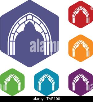 Construction arch icons vector hexahedron - Stock Image