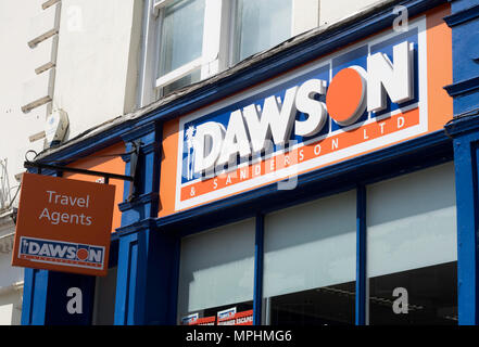 Dawson and Sanderson Travel Agents, sign and logo outside Durham office, England, UK - Stock Image