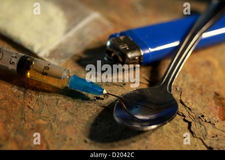 Heroin User's Paraphernalia - Stock Image