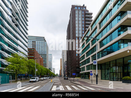 Office buildings at business district Zuidas in Amsterdam, Netherlands - Stock Image