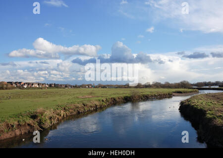 River Tame and floodplain at Kingsbury in North Warwickshire - Stock Image