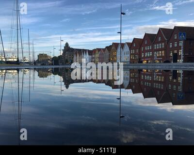 UNESCO World Heritage Site, Bryggen, German warf, Bergen, Norway - Stock Image