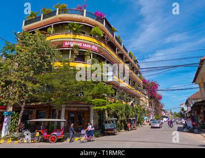 Road 2, with Seng Hout hotel, Battambang, Cambodia, Asia - Stock Image
