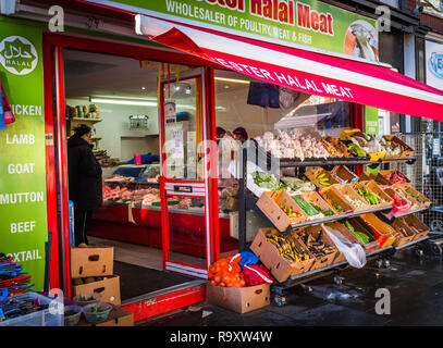 A Halal meat store. - Stock Image