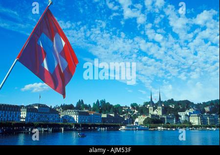 Swiss flag Luzern Vierwaldstätter see Switzerland - Stock Image