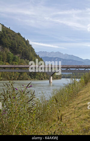 He Wooden Rustic Zollhaus Bridge Allows Pedestrians And Cyclists At Niederaudorf To Make Their Way To Austria - Stock Image