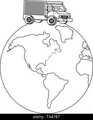 truck over a globe icon cartoon - Stock Image