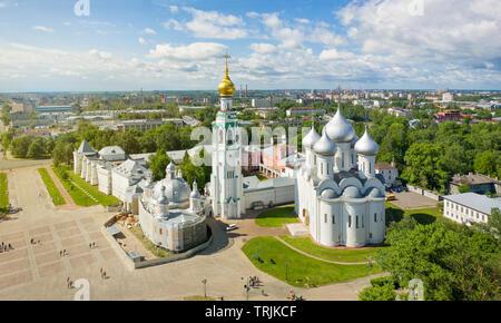 Panoramic aerial view of Vologda Kremlin in Vologda, Russia - Stock Image