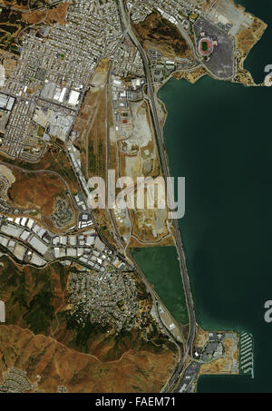 aerial photo map of San Bruno Mountain, Candlestick Park and the Brisbane marina vicinity at Sierra Point, San Francisco - Stock Image