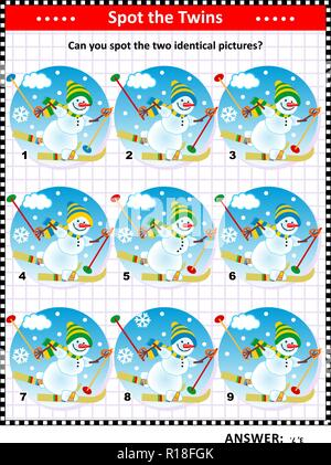 Winter or winter holidays themed visual puzzle with skiing snowmen: Can you spot the two identical pictures? Answer included. - Stock Image