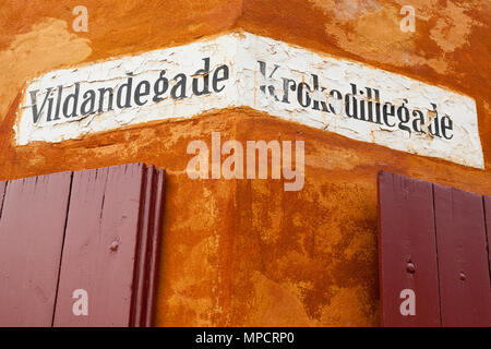Copenhagen Street sign: Street signs on the side of a 17th century housing development for the military in Copenhagen. - Stock Image