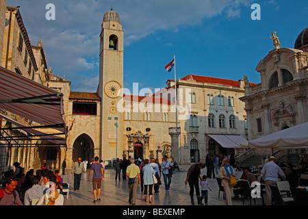 Luza Square and Sponza  Palace, Dubrovnik, Croatia - Stock Image