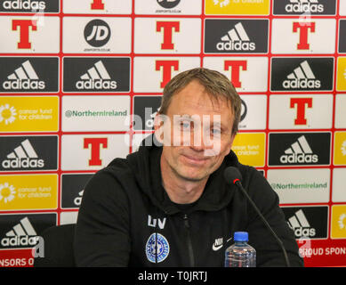 Windsor Park, Belfast, Northern Ireland, UK. 20 March 2019. The Estonian press-call before tomorrow night's Euro 2020 qualifying game in Belfast. Estonia heac coach Martin Reim. Credit: David Hunter/Alamy Live News. - Stock Image