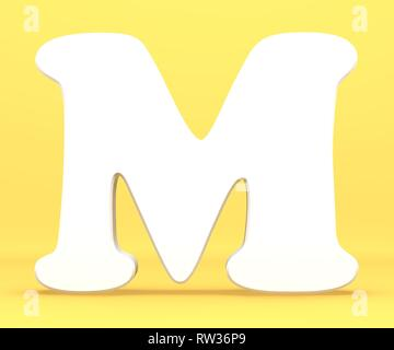 3d rendering illustration. White paper letter alphabet character M font. Front view capital symbol on a blue background. - Stock Image