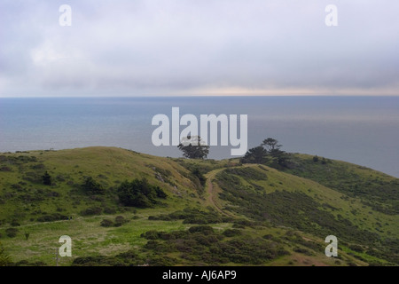 View over the Pacific Ocean from the Panoramic Highway on the slopes of Mount Tamalpais Marin County California - Stock Image