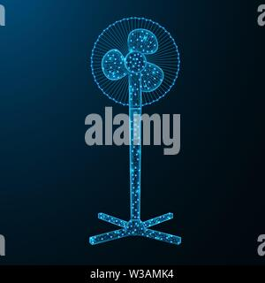 Household fan low poly graphic model, polygonal electronic equipment, cooling system wire frame vector illustration on dark blue background - Stock Image