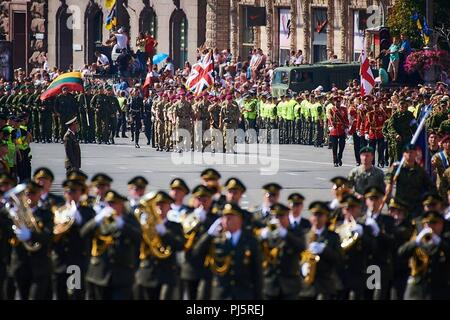 Service members from many nations were represented in the Ukrainian Independence Day parade in Kyiv, Aug. 24. - Stock Image
