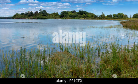 The estuary of the river Alde at Iken Suffolk England with St Botolph's Church in the far distance - Stock Image
