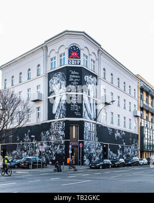 Urban Nation Museum of street art in Schöneberg-Berlin, Facade art by Snik & Hera is a tribute to nature - Stock Image