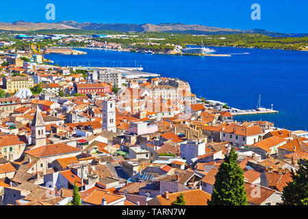 Sibenik old town and waterfront aerial view, Dalmatia region of Croatia - Stock Image