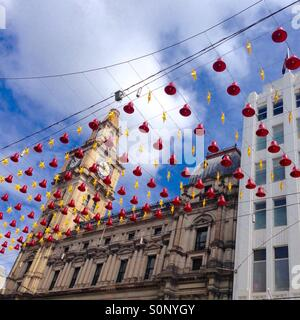 Melbourne's GPO building with clock tower and Christmas decorations - Stock Image