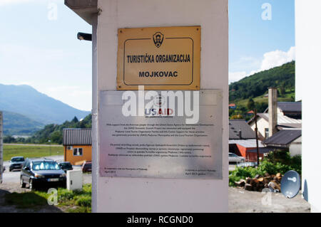 The Tourism Organisation Mojkovac, USAID, in Mojkovac city in northern Montenegro, August 31, 2018. (CTK Photo/Libor Sojka) - Stock Image