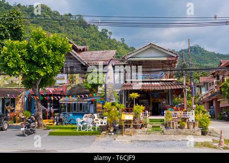 Restaurants, Phet Kasem Road, Khao Lak, Thailand - Stock Image