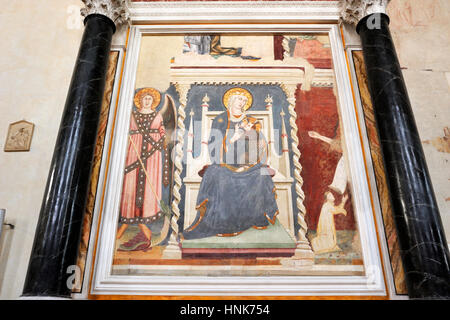 madonna with baby by Lippo Memmi (AD 1317), the oldest fresco in san gimignano, church of st augustine, san gimignano, - Stock Image