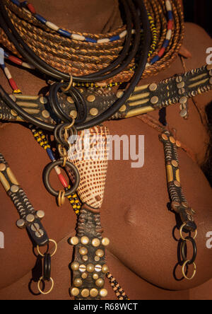 Jewels of a Himba tribe young woman, Cunene Province, Oncocua, Angola - Stock Image