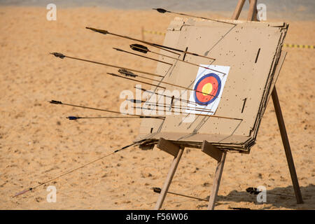 Palmas, Brtazil. 28th Oct, 2015. The archery target of cardboard boxes shows the variety of arrows in use at the - Stock Image