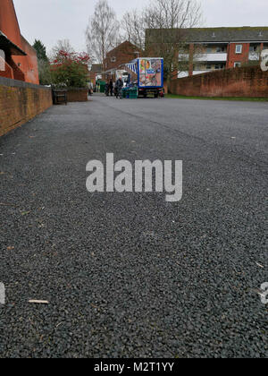 Ashbourne, UK. 8th February, 2018. Only two vendors attend the struggling Ashbourne, Derbyshire Thursday market - Stock Image