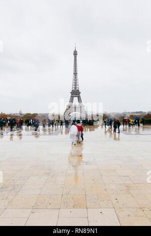 Paris (France) - Eiffel Tower seen from the terrace of Trocadéro - Stock Image