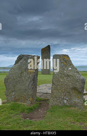 Standinging stones at Stenness on the Orkney Isles main Island. - Stock Image