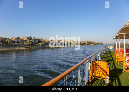 A view of the River Nile from onboard a cruise ship called the M/S Royal Esadora, Egypt, Africa - Stock Image