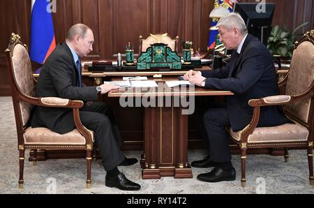 Moscow, Russia. 11th Mar, 2019. Russian President Vladimir Putin holds a working meeting with the Head of the Federal Service for Financial Monitoring Yury Chikhanchin at the Kremlin March 11, 2019 in Moscow, Russia. Credit: Planetpix/Alamy Live News - Stock Image