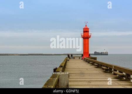Fisihing on the pier of Boulogne sur mer, cote opale, France - Stock Image