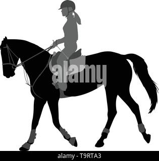 detailed silhouette of young female riding elegant horse - vector - Stock Image