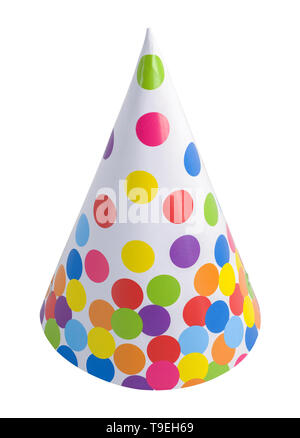 Polka Dot Party Hat Cut Out On White. - Stock Image