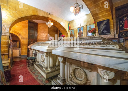 Royal tombs and artifacts within the Beata Maryam Church,  resting place of Menelik II and his wife and daughter. Addis ababa, Ethiopia. - Stock Image
